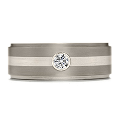 Commanding Grey Titanium Diamond Inlay Step Band