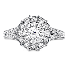 Liliana Halo Engagement Ring - Dia Band