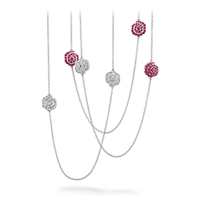 Lorelei Diamond & Ruby Floral Station Necklace