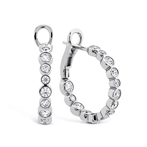HOF Large Bezel Diamond Hoops